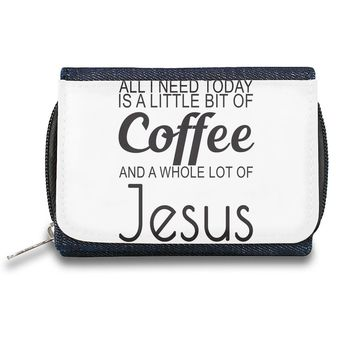 All I Need Today Is A Little Bit Of Coffee And Whole Lot Of Jesus Slogan  Zipper Wallet| The Stylish Pouch To Keep Everything Organized| Ideal For Everyday Use & Traveling| Authentic Accessories By Styleart