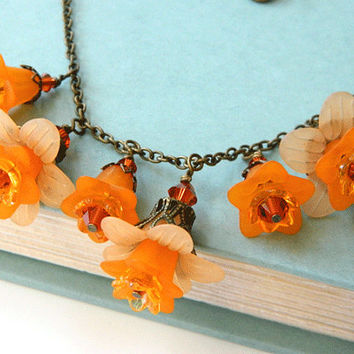 Short Orange Necklace Lucite Flowers Handcrafted Crystal Antique Brass