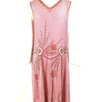Pink Silk Heavily Beaded Flapper Dress