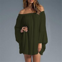 Plus Size Off the Shoulder Chiffon Blouse S-3XL