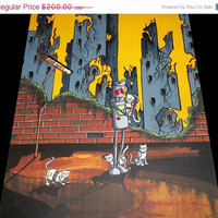 WEEKEND SALE - Original Pop Art Robot Apacolypse Painting by Mike Best - oh look Robot cats - 16X20