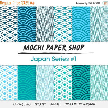 50% OFF Marine Blue Digital Paper Download, Traditional Japanese Wave Patterns, Weathered Summer Graphics, Instant Download, Wave PNG Files