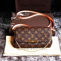 LV Louis Vuitton Trending Women Shopping Logo Print Buckle Leather Metal Chain Crossbody Satchel Shoulder Bag I