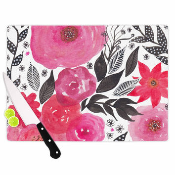 "Li Zamperini ""Pink Garden"" Rose Floral Cutting Board"