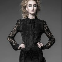 Black Cotton and Lace Gothic Blouse for Women - Devilnight.co.uk