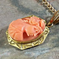 Cameo Antique Coral Cameo 10k Gold Pendant and 16 Inch Chain Female Portrait High Relief Very Nice Detail Very Good Condition Salmon Color