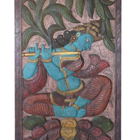 Conscious design Yoga Meditation Indian Door Panel Vintage Krishna Fluting bALANCING OUR cHAKRAS, under Wish Tree Wall Sculpture, Yoga Decor
