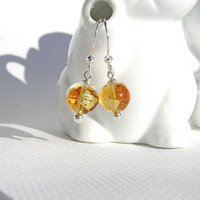 Gold Venetian Glass Earrings