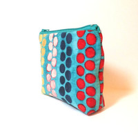 Small  Pouch Small Wallet  Small Card Pouch  Beaded Stripe in Aqua