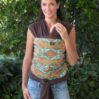 Baby Sling-ORGANIC BABY WRAP Sling Carrier-Kashmir On Brown-Our Wraps Are One Size Fits All-DvD Included