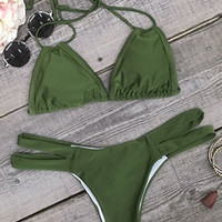 Cupshe Cool Feeling Olive Halter Bikini Set