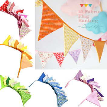 2.5m Multicolor Handmade 12flags Bunting Double side Fabric Flag Banner Garland Wedding Party Decoration