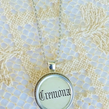 Cremona Organ Stop, Organ Pull Jewelry, Antique Organ Necklace, 24 Inch Antique Silver Chain, Upcycled Pendant, Musical Jewelry, Clarinet