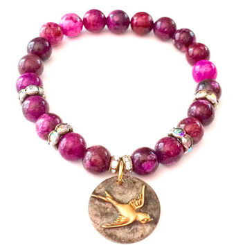 Sugilite Gemstone Gypsy Sparrow Charm Bracelet-Stretch