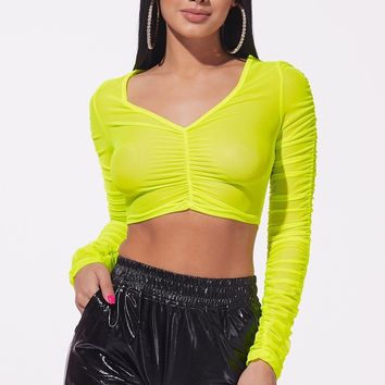Femme Ruched Mesh Top