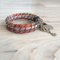Silk Road Gypsy Bangle Stack - Citrus Pastels - 3 Bohemian Tribal Bracelets, Silk Wrapped, Rust Red