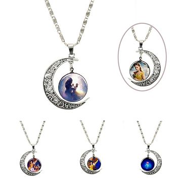 2017 New Movie Beauty and the Beast Belle Metal Pendant necklace chain glass Figure Model cosplay accessary toys