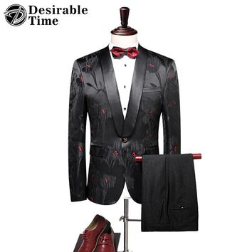 Black Groom Tuxedo Suit Men Shawl Lapel Slim Fit Wedding Suits for Men 2018 New Arrival Prom Party Floral Dress Mens Suits DT315