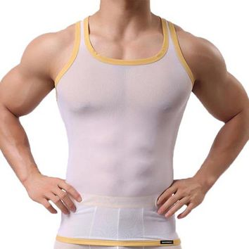 Running Vests Jogging Men Super Thin Sheer Mesh Golden Edge Breathable Sleeveless Tanks Sport Running Jogging Training Fitness Muscle Gym Shirt Vest KO_11_1