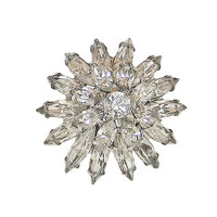 Napier Ring Clear Rhinestones Tiered Adjustable Silver Tone