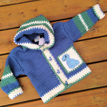Crochet Baby Sweater Hoodie ( Handmade Crochet Children's Puppy hoodie sweater ) -  Children's sweater size 3