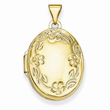 14k Yellow Gold Hand Engraved Oval Locket Pendant