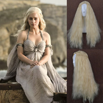 Fashion style Curly Light Blonde Cosplay Wig 2 Braid Cos Wig of GameThrones Daenerys hair HD-759