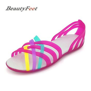 BeautyFeet Summer Fish Mouth Plastic Flat Sandals Rainbow Casual Beach Shoes Mixed Color Women Sandals Sandalias Mujer Zapatos
