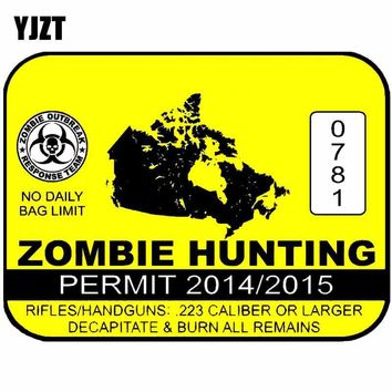 YJZT 10.2CM*7.7CM ZOMBIE HUNTING PERMIT Personality Car Sticker Reflective Motorcycle Parts C1-7369