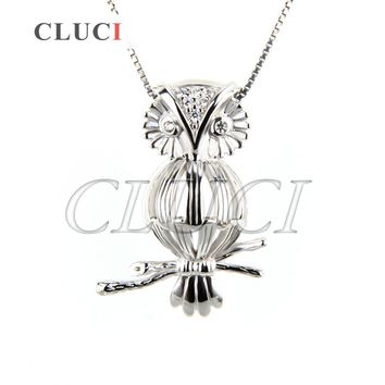 CLUCI Fashion Women Jewelry 925 Sterling Silver Necklace Pendant Charming Owl Locket Animal Cage Pendant, can put pearl into