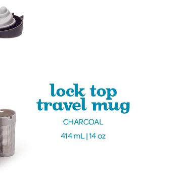 Charcoal Lock Top Travel Mug - Sleek And Stylish Leakproof Travel Mug | DAVIDsTEA