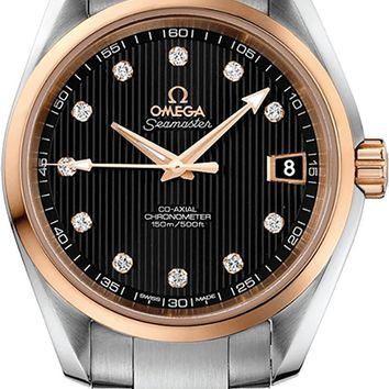 Omega Seamaster Aqua Terra Steel/Red Gold Black Dial Diamond Watch 231.20.39.21.51.003