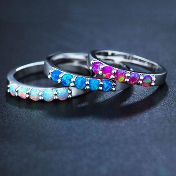 1 Pcs Simple Ring Round White Pink Blue/white Fire Opal Rings for Women Trendy Engagement Wedding Jewelry