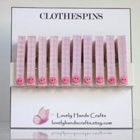 Mini Wood Clothes Pin, Baby Shower Favors, Pink Gingham - Set of 10
