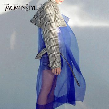 TWOTWINSTYLE Tulle Patchwork Trench Coat Female Plaid Belt High Waist Long Windbreaker 2018 Spring Women Large Size Tide New