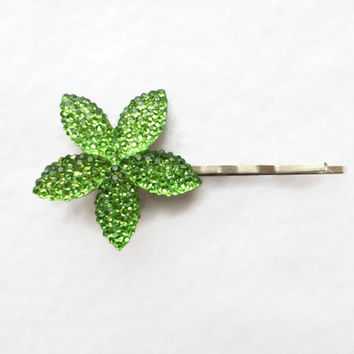 Sparkly Green Flower Bobby Pin - Teen Hair Fashion Accessory - Women's Hair Fashion Bobby Pin - Flower Hair Pin - Girls Hair Pin