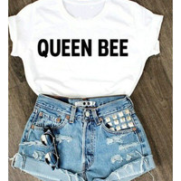 Women T-Shirts For Short Sleeve O-Neck Summer Thin Tops Plus Size White Tee Shirt QUEEN BEE Letter Print Tshirt Camisetas Mujer