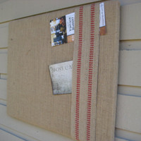 Industrial Loft style Memory Board, Burlap Bulletin Board accented with rustic red striped upholstery webbing,Dorm Decor