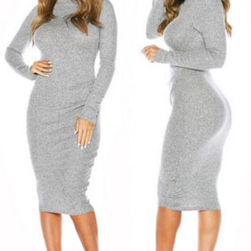 Gray Boat Neck Long Sleeve Bodycon Midi Dress