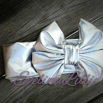 Silver Messy Bow Headband/Baby-Adult Headband/Stretchy Headband/ Metallic Headband/ Messy Bow Headband