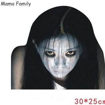 Car Rear Window Ghost Stickers 3D Halloween Car Sticker Reflective Horrible Car Body Sticker Girl Child Skull Long Hair Lady