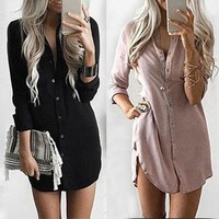 Winter Long Sleeve Casual Shirt Dress Mini Vintage Party Dresse