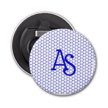 Blue pattern. Hexagonal grid. Monogram. Bottle Opener