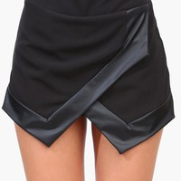 Leather Trim Skort