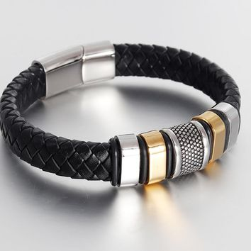 Fashion Stainless Steel Bracelet Men Braid Black Leather Bracelets & Bangles Rope Chain Vintage Jewelry Magnetic Buckle gold