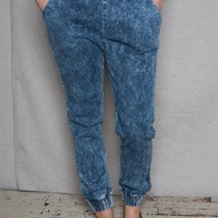 Milkyway USA Mineral Acid Wash Denim Joggers - Blue