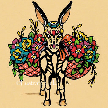 Day of the Dead BURRO Donkey Dia de los Muertos Art Print 5 x 7, 8 x 10 or 11 x 14