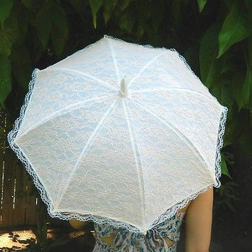 Vintage Style Peach Lace Small Wedding Parasol Umbrellas Country Chic Photo Prop