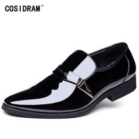 COSIDRAM Slip On Business Wedding Patent Leather Oxford Shoes For Men Dress Shoes Pointed Toe Men Formal Shoes RME-356