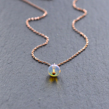 Ethiopian Opal Necklace Minimalist Rose Gold Filled - Minimalist Welo Opal - Dainty Layering Necklace